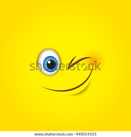winking smiley face   vector