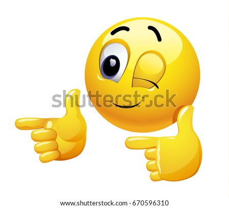 Winking smiley gesturing with his hand. Emoticon thumbs up showing positive mood.