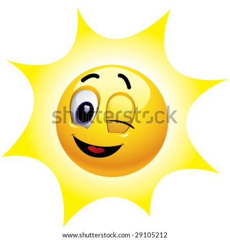 winking smiley face. stock vector : Winking smiling