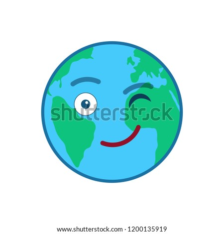 Winking tears world globe isolated emoticon. Blinking planet emoji. Social communication and weather widget. Cute face showing facial emotion. Funny earth with icon. Weather forecast vector element