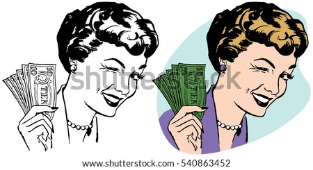 Winking woman holding a handful of dollar bills