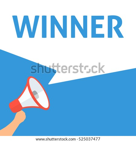 WINNER Announcement. Hand Holding Megaphone With Speech Bubble. Flat Illustration