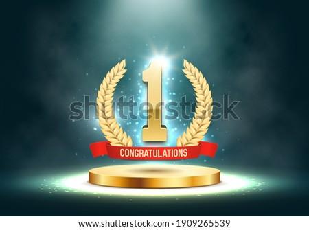 Winner award. Number one. Golden laurel wreath with red ribbon on podium. Vector illustration.