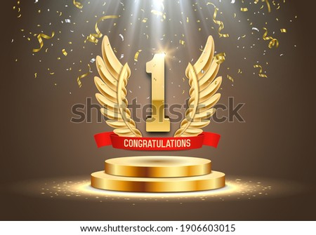 Winner award. Number one. Golden wings and red ribbon on podium with falling confetti. Vector illustration.