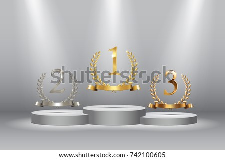 Winner background with golden, silver and bronze laurel wreaths with ribbons and first, second and third place signs on round pedestal. Vector winner podium sports symbols.