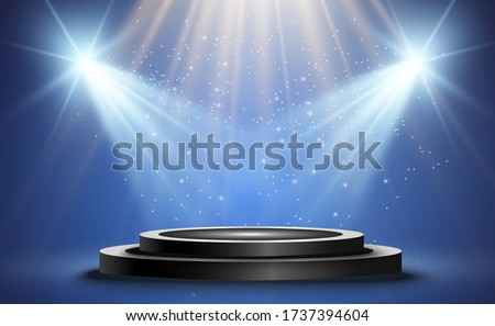 Winner background with signs of first, second and third place on a round pedestal. Vector winner podium sports symbols.