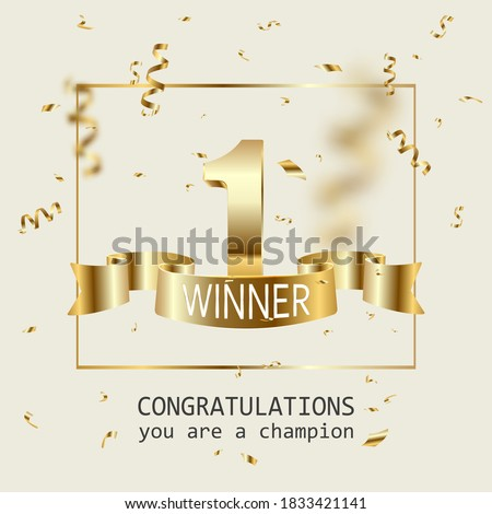 Winner banner. 1 place in competition. Shining golden number one with golden ribbon and winner text, falling confetti. Winning in contest, game, lottery or championship vector illustration. Photo stock ©