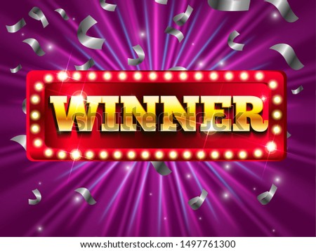 Winner banner with glowing lamps. Win congratulations vintage frame, golden congratulating framed sign with gold confetti. Vector illustration for winners of poker, cards, roulette and lottery.