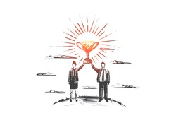Winner concept. Hand drawn man and woman holding up a gold trophy cup as a winner in a competition. Two partners win isolated vector illustration.
