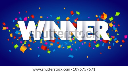 Winner Congratulations confetti triumph banner. Victory success letters with winner background design.