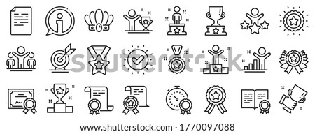 Winner cup, goal target, certificate. Success line icons. Reward, medal with ribbon, crown icons. Award, winner podium, first place success. Statue, diploma with certificate, challenge. Vector Stockfoto ©