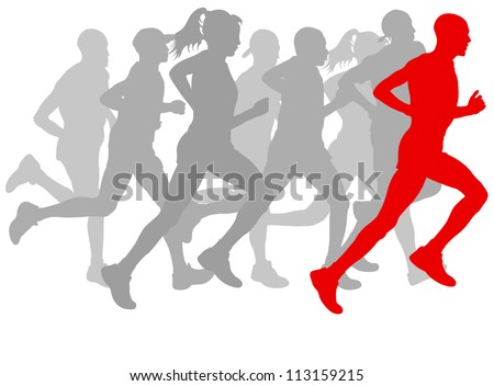 Winner finish vector background and group of runners Photo stock ©