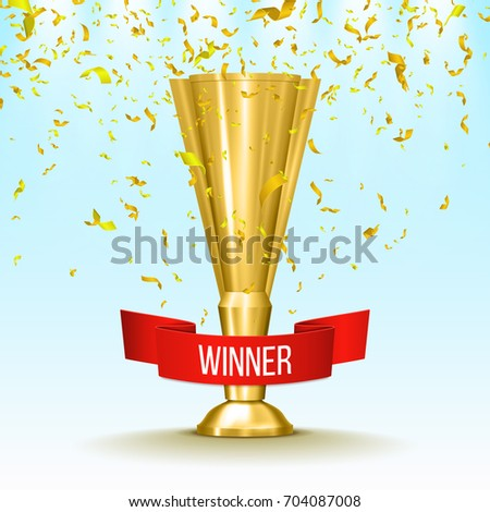 Winner gold cup with red ribbon and confetti. Metallic trophy cup. Vector illustration.