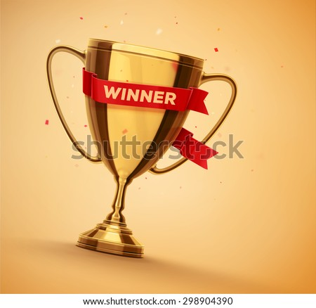 Winner gold cup with red ribbon, eps 10