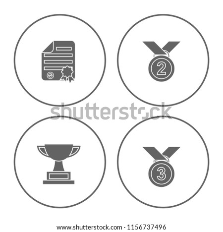 winner icons set - cup and medal icons - award prize sign and symbols