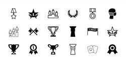 Winner icons. set of 18 editable filled and outline winner icons: medal, medical mask, trophy, 1st place star, olive wreath, number 1 medal, crossed flags, ranking, finish