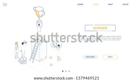 Winner - line design style isometric web banner on white background with copy space for text. Unusual header with male, female employees, a man standing on a server, holding a prize. Victory concept