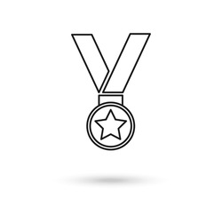 Winner medal, reward program, first place, achievement and accomplishment concept, earn points, flat icon. Vector, star.