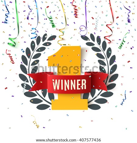 Winner, number one background with red ribbon, olive branch  and confetti on white. Vector illustration.