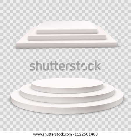 Winner podium  set.  White 3d round and square three-stepped pedestals. Realistic light.