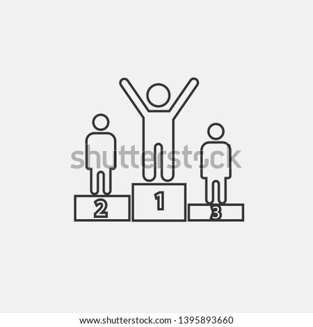 Winner podium vector icon solid grey