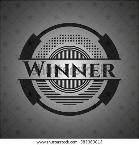 Winner realistic black emblem
