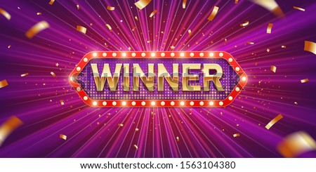 Winner. Retro winner congratulation banner with glowing light bulbs and golden confetti on a burst purple background. Winners of poker, jackpot, roulette, cards or lottery.