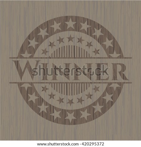 Winner retro wooden emblem
