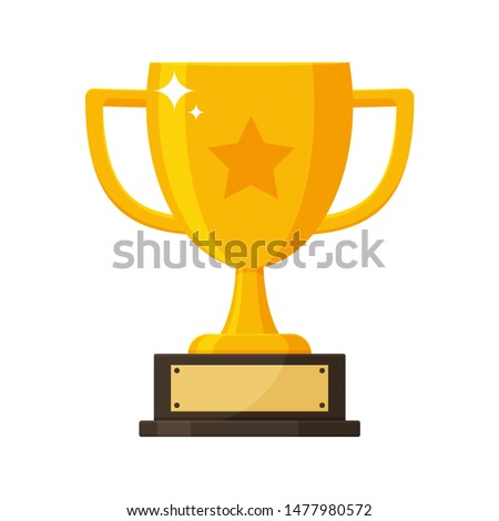 Winner's trophy icon. The golden trophy vector is a symbol of victory in a sports event.