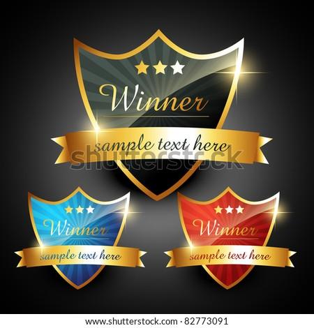 winner shiny golden vector label