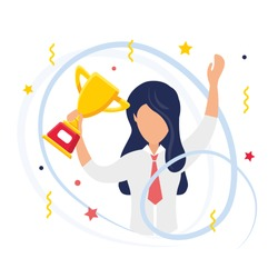 Winner. The office worker won the competition. Happy girl holds winner's gold cup in hand. Modern fans isolated on white background. Сartoon flat vector illustration.