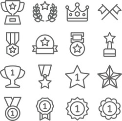 Winner Victory Prize icon set vector illustration. Contains such icon as medal with star, trophy, ranking, finish flag, 1st place star and more. Expanded Stroke