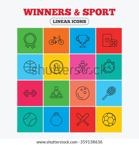 Winners and sport icons. Winner cup, medal award and first place emblem. Bike, playing card with dice and runner. Fitness dumbbell, basketball, football and bowling balls. Linear icons in squares.