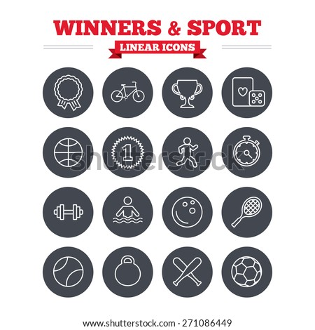 Winners and sport linear icons set. Winner cup, medal award and first place emblem. Bike, playing card with dice and runner. Fitness dumbbell, basketball, football and bowling balls. Flat circle