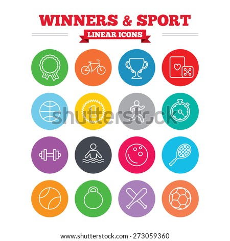 Winners and sport linear icons. Winner cup, medal award and first place emblem. Bike, playing card with dice and runner. Fitness dumbbell, basketball, football and bowling balls. Thin outline signs.