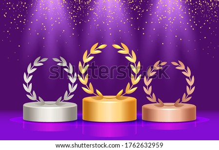 Winners of the podium with a laurel wreath. Three prizes and falling sweets from above. Vector illustration.