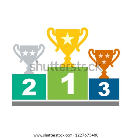 Winners podium with cups. Prizes for the Champions. Gold, silver and bronze cups. Vector illustration in flat style