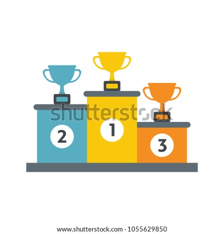 Winners podium with gold, silver and bronze cups. Vector illustration in flat style isolated on white background