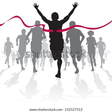 Winning Athlete crosses the finish line Stock photo ©