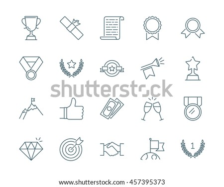 Winning awards vector icons set