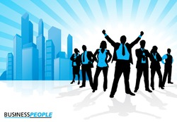 Winning Business Team against City Skyline. Vector illustration of a group of Male and Female Business People in Winning Dynamic Poses depicted as silhouettes against a City Skyline.
