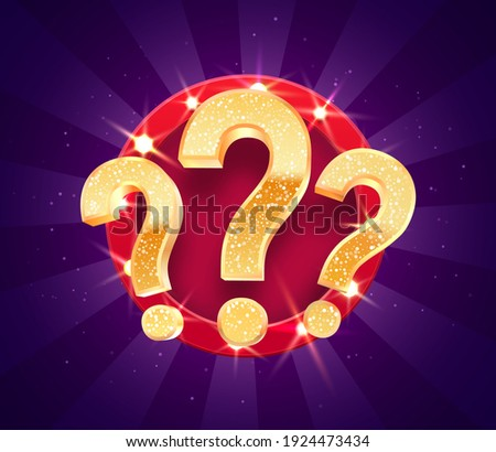 Winning gifts in lottery. Grand drawing. Mistery gift question marks on retro illuminated board vector illustration