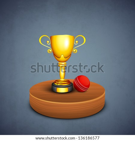 Winning golden cup with cricket ball on stage, sports concept.