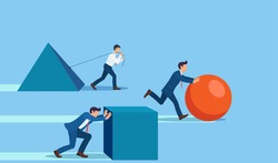 Winning strategy business concept. Competition. Enterprising businessman pushes sphere. Behind are pushing heavy load. Direction to victory. Effective achievement.