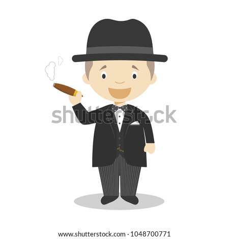 Winston Churchill cartoon character. Vector Illustration. Kids History Collection.