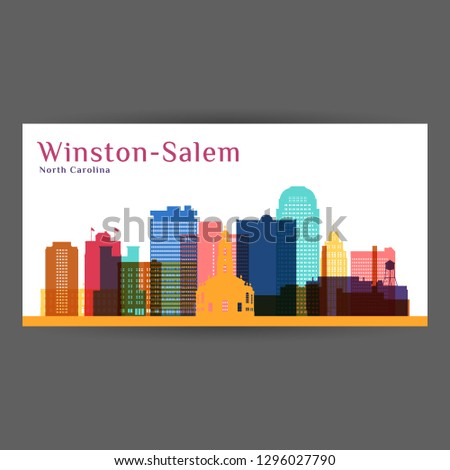 Winston–Salem city architecture silhouette. Colorful skyline. City flat design. Vector business card.