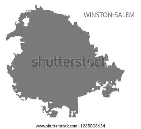 Winston-Salem North Carolina city map grey illustration silhouette