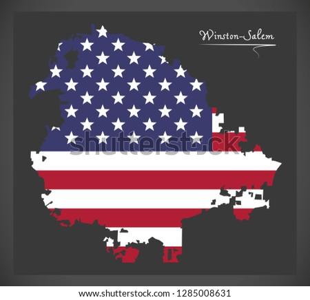 Winston-Salem North Carolina City map with American national flag illustration