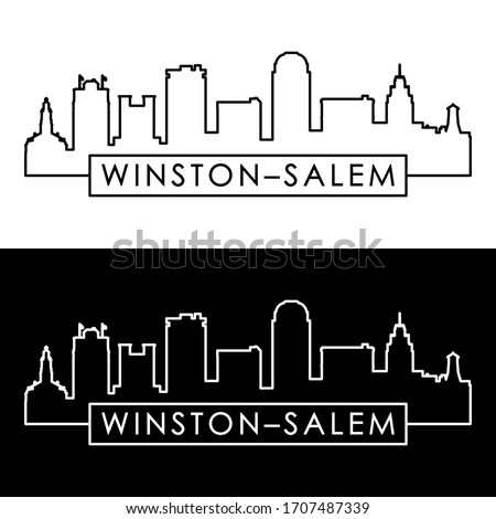 Winston–Salem skyline. Linear style. Editable vector file.