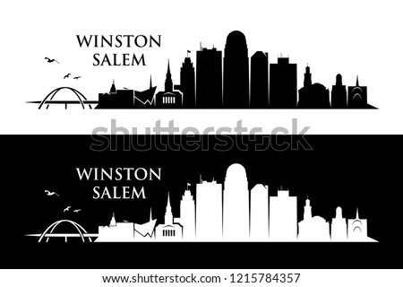 Winston - Salem skyline - North Carolina, United States of America, USA - vector illustration